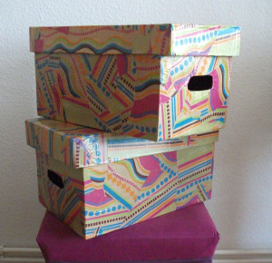 Bulky diaper boxes to funky storage: an upcycling tutorial