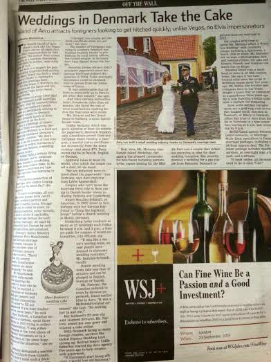 wall street journal denmark weddings article