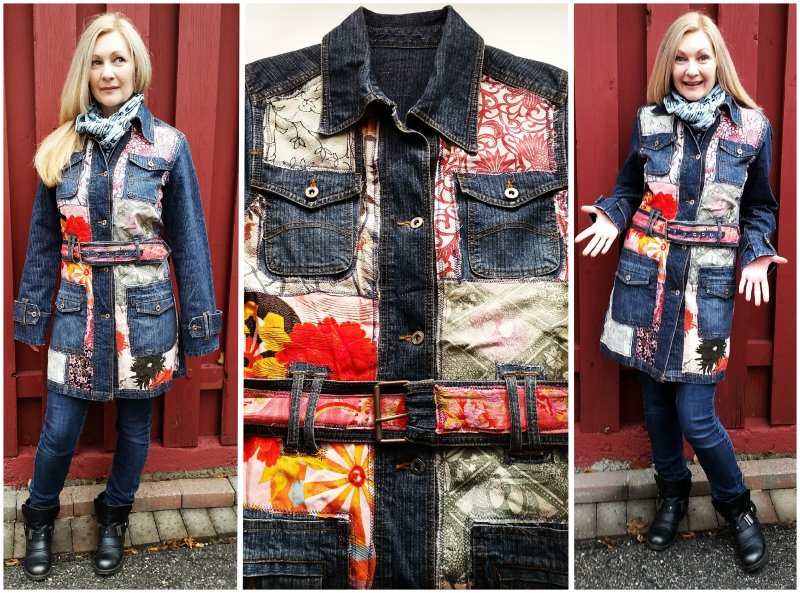 DIY Scrap Patchwork Denim Trenchcoat Refashion