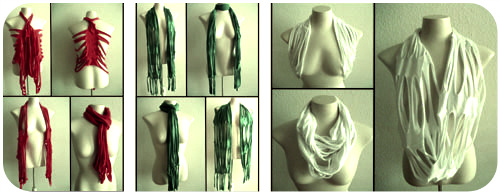 The Sliced Trio – easy upcycled DIY t-shirt scarves