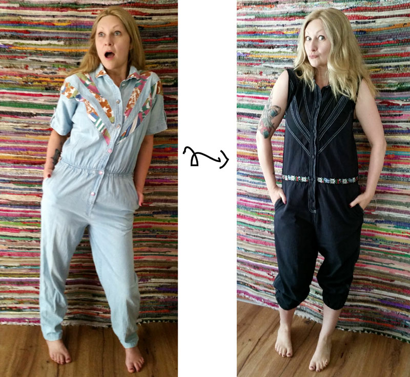 refashioned jumpsuit before after