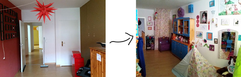 Thrifty Upcycled Kids Room before after