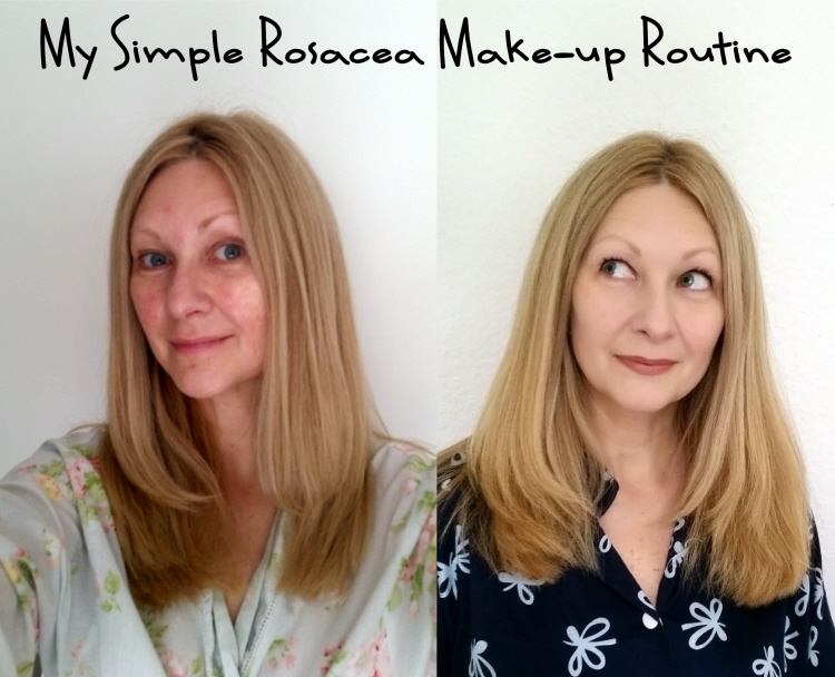 Rosacea make up routine before & after
