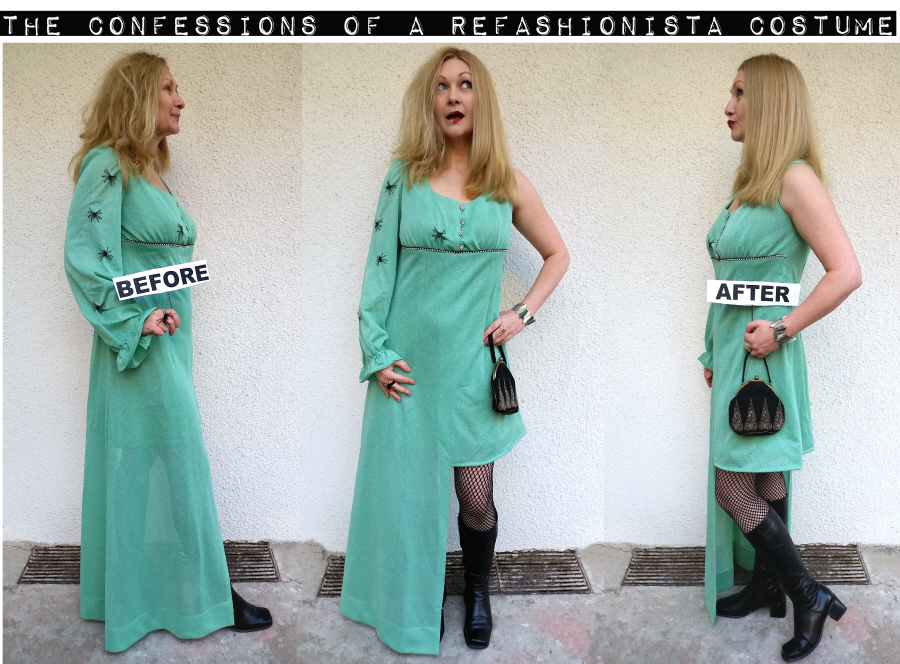 DIY before and after Refashioinista costume