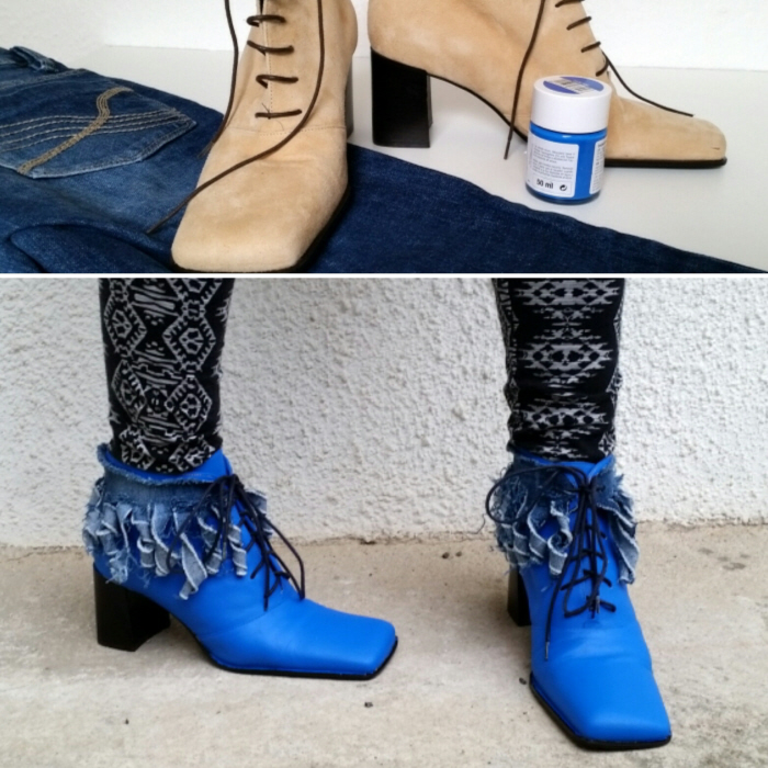 my Kiki Kumi inspired denim fringed shoe refashion