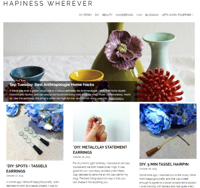 Hapiness Wherever DIY Lifestyle Blog