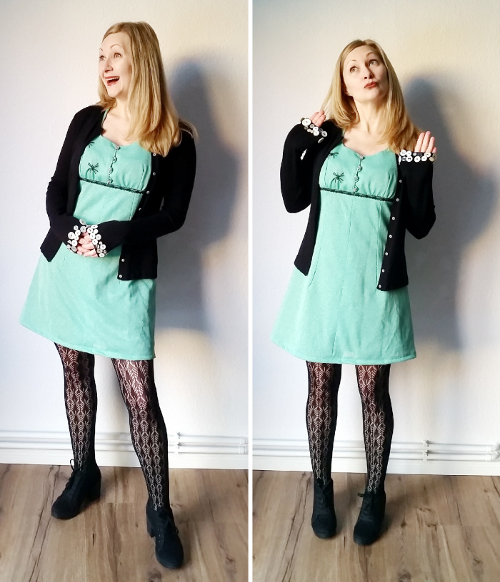 Vintage Dress refashion after with button sweater