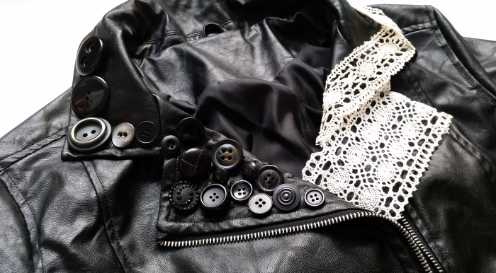 faux leather jacket button embellishment tutorial
