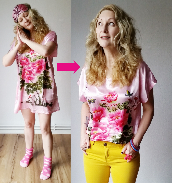 My Easy Nightshirt to Top Refashion