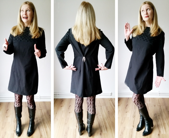 vintage black beaded shift dress refashion after