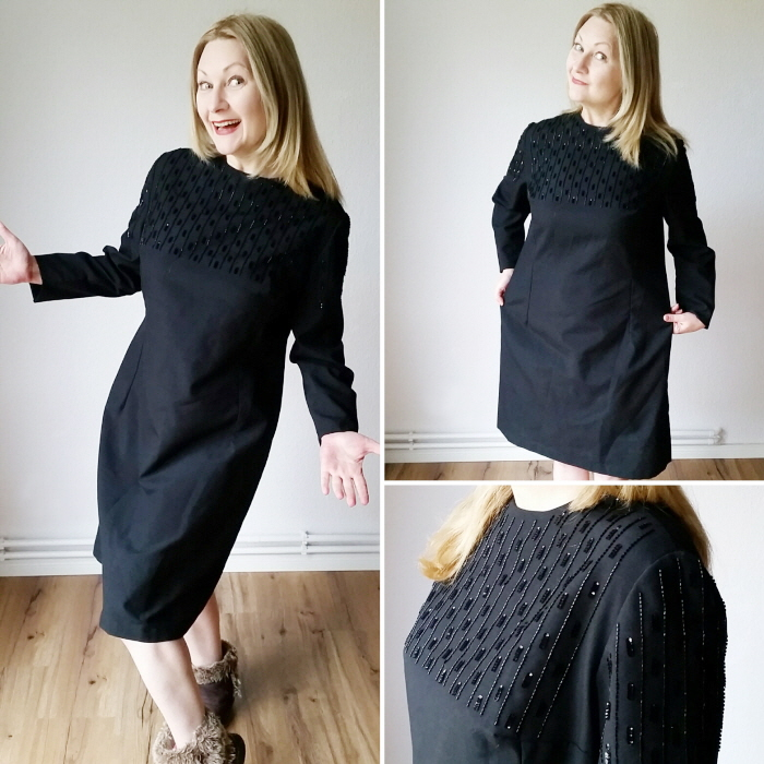 vintage black beaded shift dress refashion before