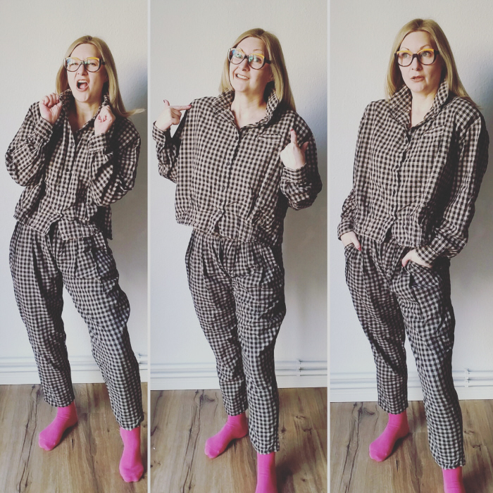 My thrifted 80s suit refashion + how to replace a trouser zip