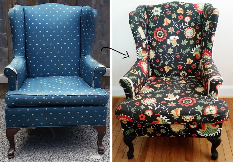 How to reupholster a wing back chair by Confessions of a ...