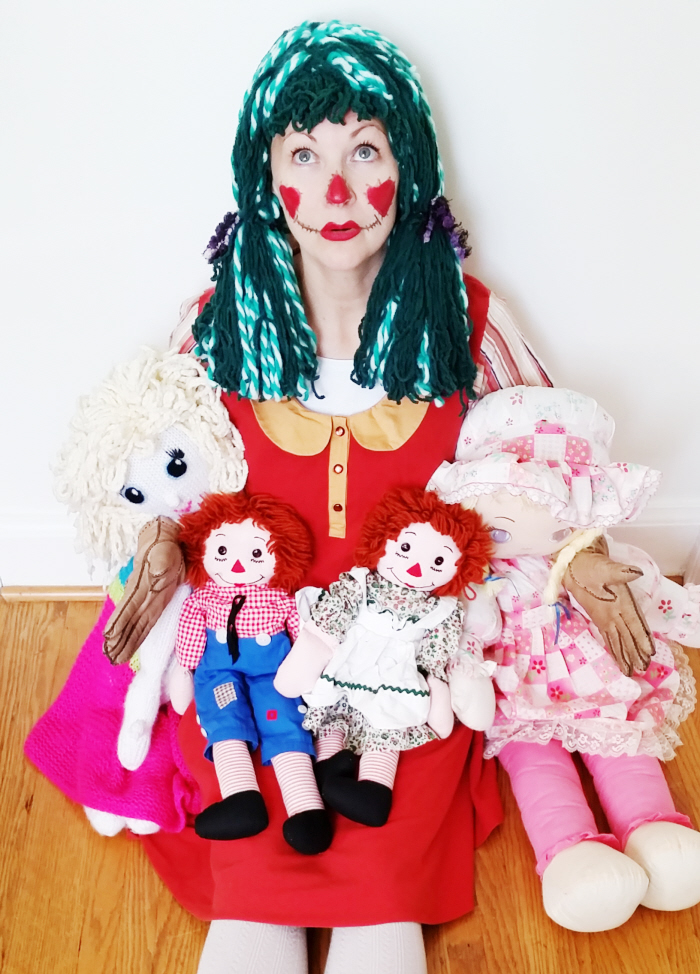 The no sew yarn wig + DIY ragdoll & scarecrow costumes