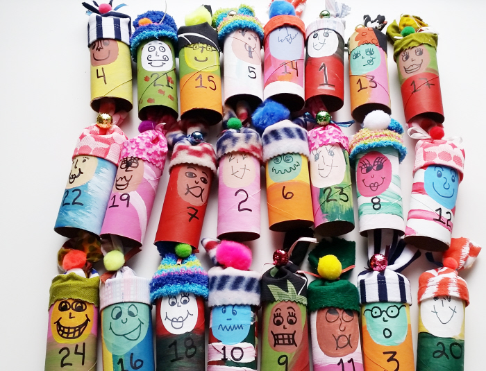 DIY Upcycled Toilet Roll Advent Calendar Elves