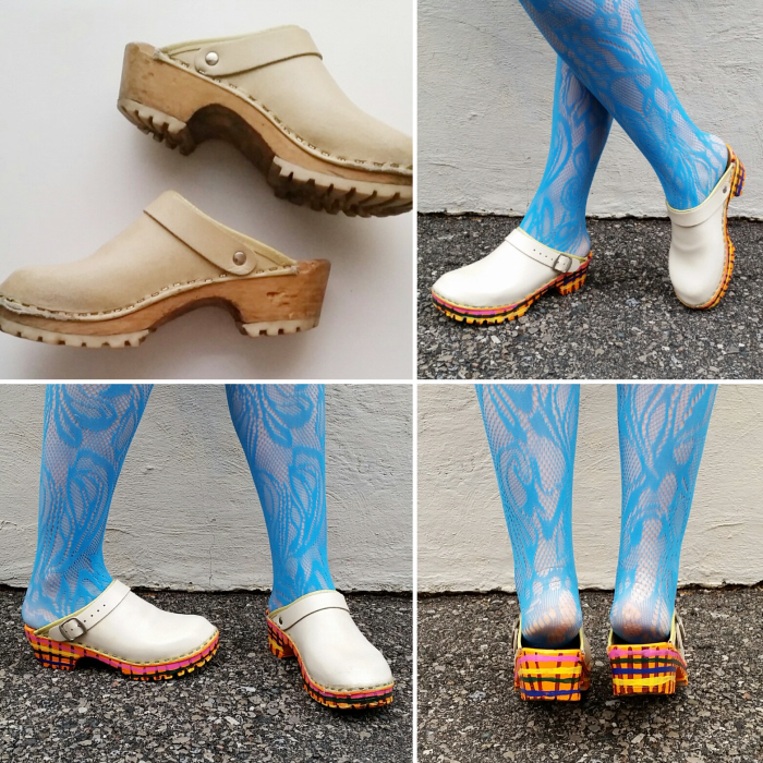 How to fix and paint vintage wooden clogs