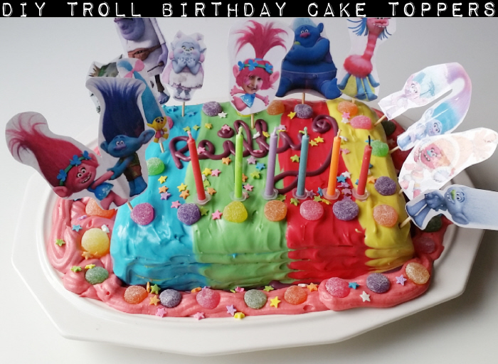 DIY Troll Birthday Cake Toppers