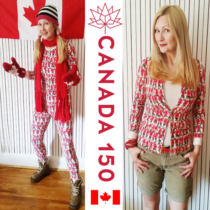 No Sew Upcycled Long Underwear Canada Day Cardigan