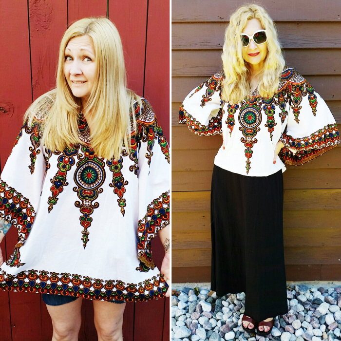 Easy Vintage Tunic to Top Refashion