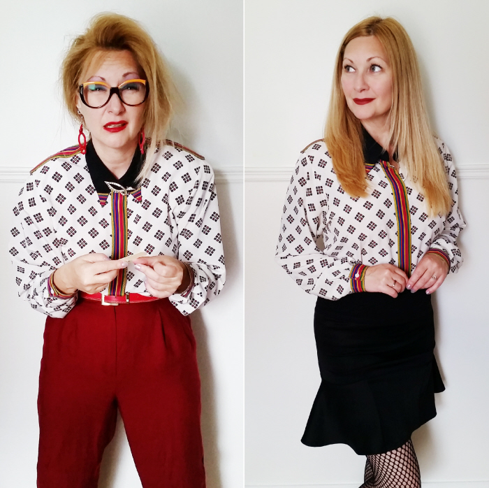 Quick & Easy No Sew 80's Blouse Refashion