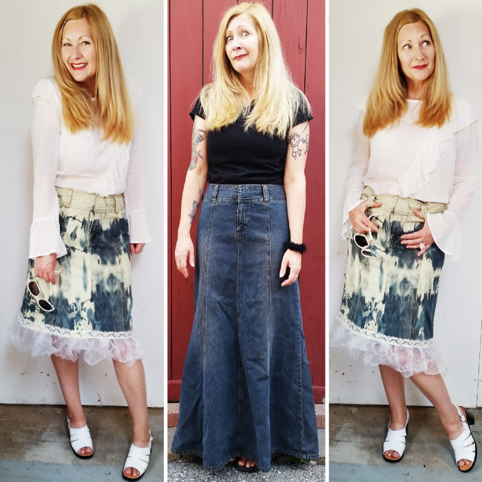 Upcycled denim skirt with DIY ruffled hem refashion