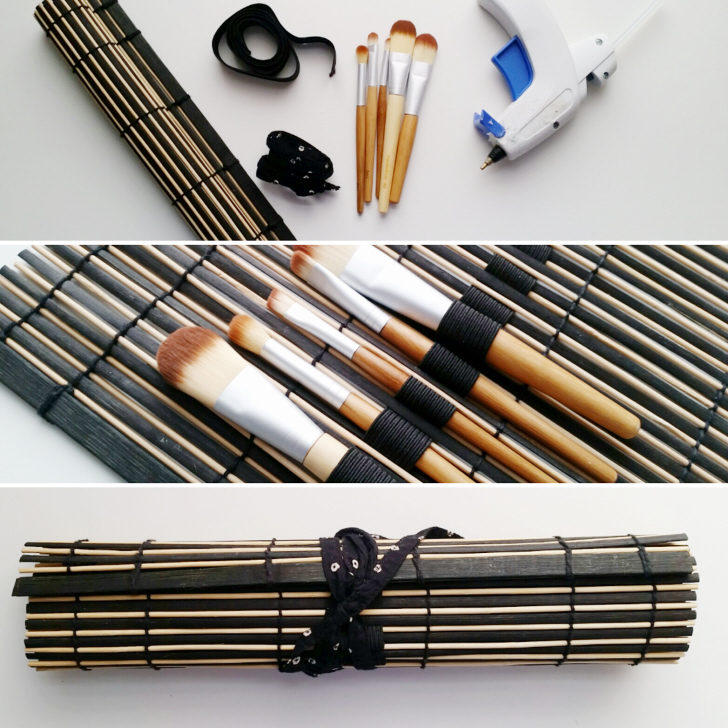 Upcycled No Sew MakeUp Brush Roll