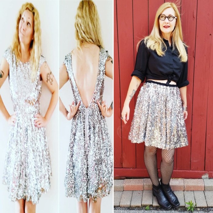 Easy DIY Skirt Waistband – a vintage sequin dress refashion