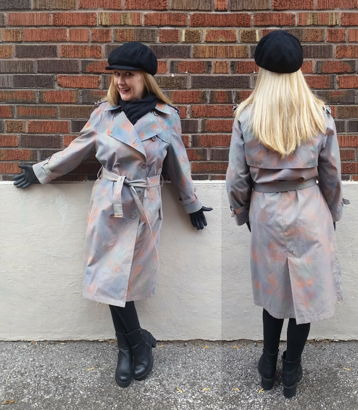 DIY Studded & Dyed Vintage Trench Coat Refashion