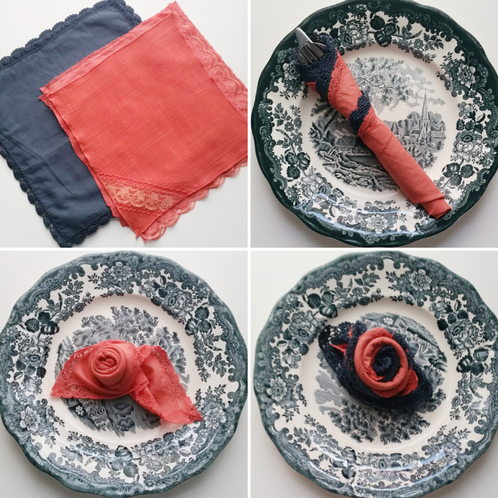 No Sew DIY Upcycled Fabric Napkins + Rose Fold How To