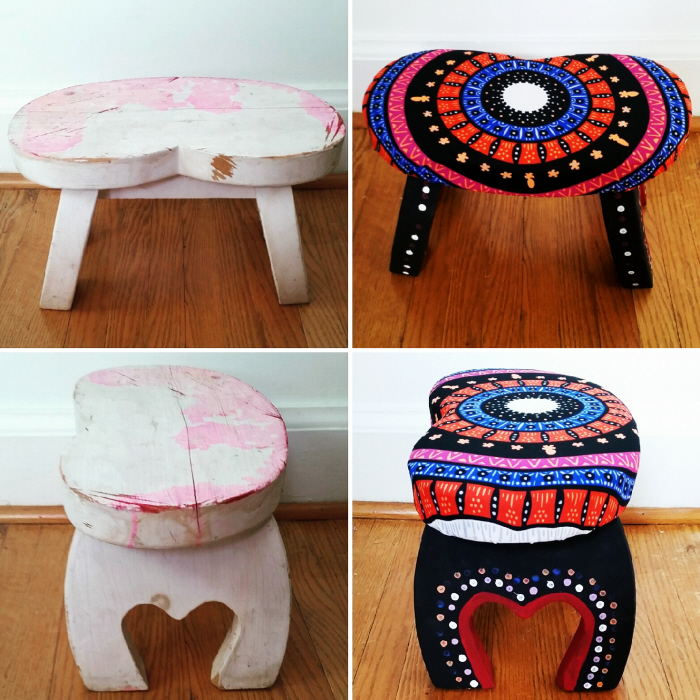 Check out the transformation of my latest roadside finds and how to update a vintage stool below: & How to update a vintage stool by Confessions of a Refashionista