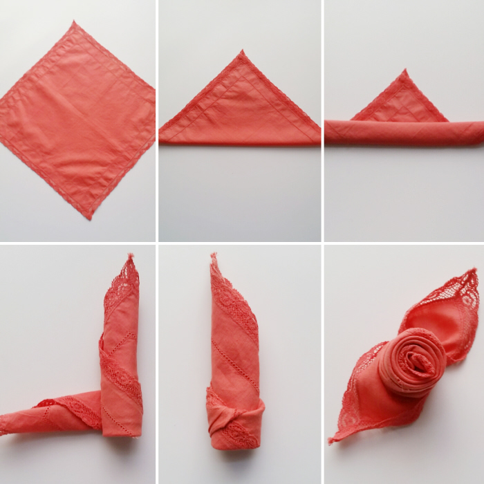 No sew diy upcycled fabric napkins rose fold how to sheri pavlovi lay the napkin flat in a diamond shape 2 fold the napkin in half to form a triangle 3 roll the bottom 34 of the way up to the point of the triangle 4 mightylinksfo